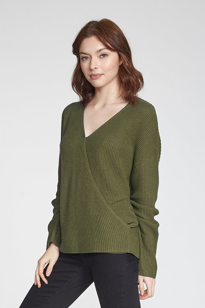 ELLIE WRAP FRONT SWEATER SAFARI