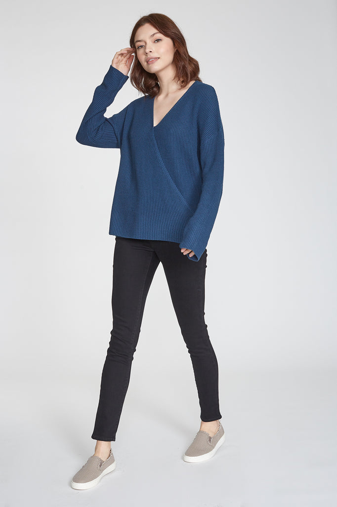 ELLIE WRAP FRONT SWEATER SAPPHIRE