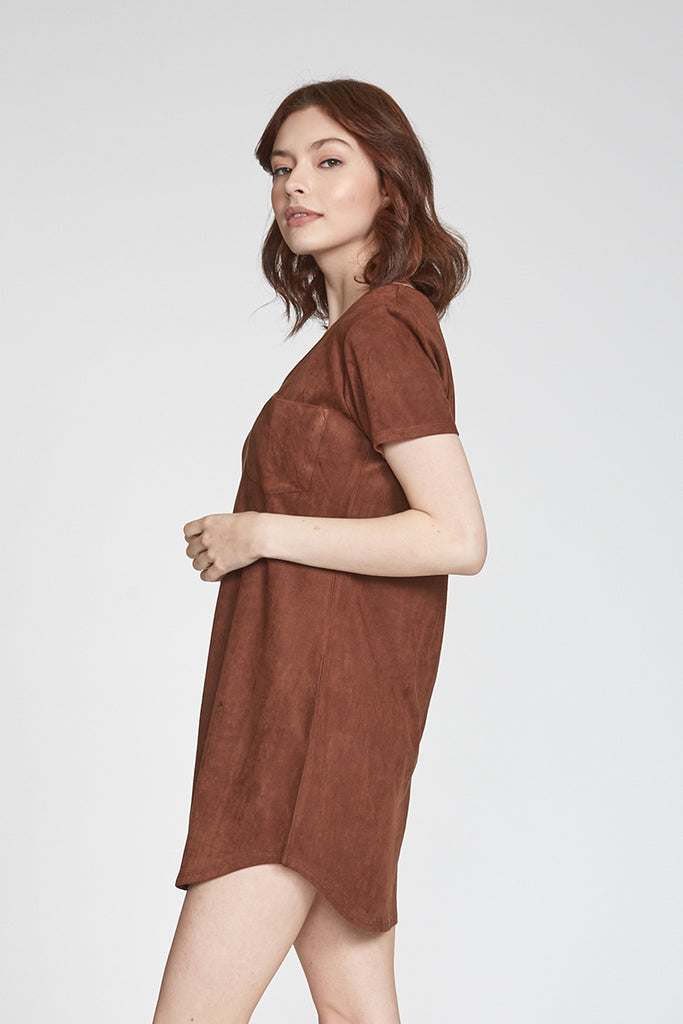 CASSIDY SUEDE DRESS CHOCOLATE
