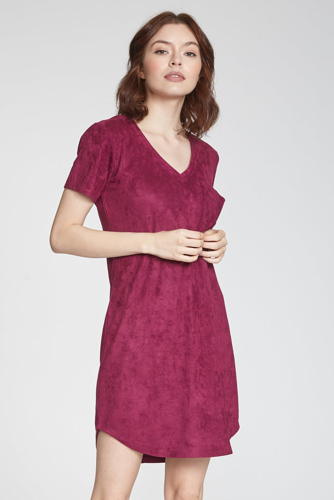 CASSIDY SUEDE DRESS DRAGON FRUIT