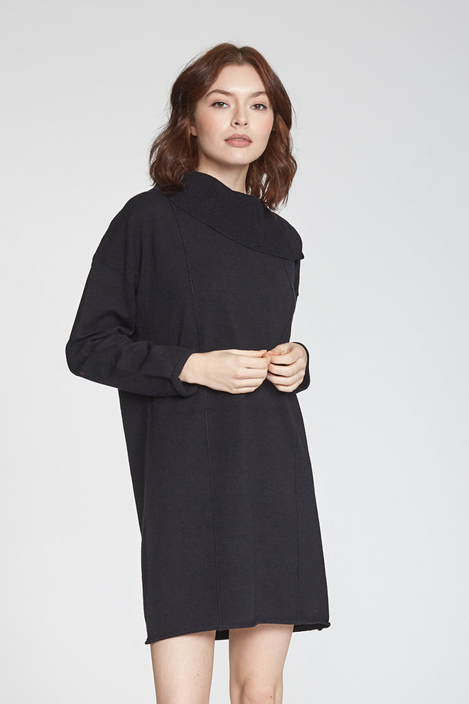HARLIE BUTTONED COWL NECK DRESS BLACK