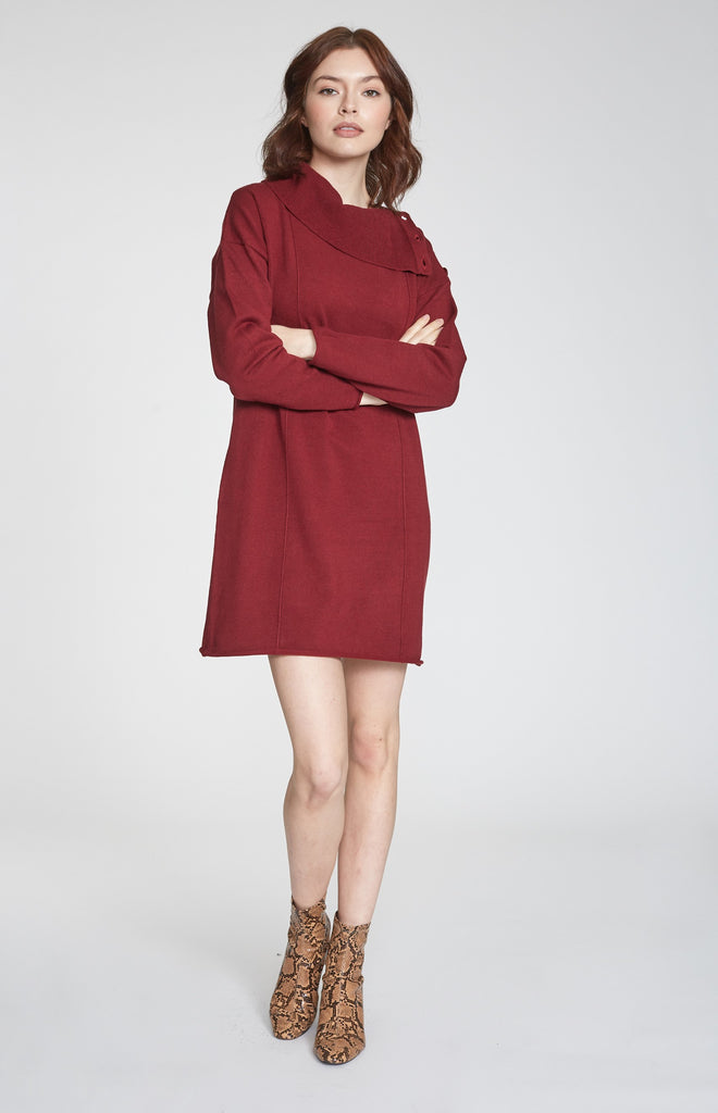 HARLIE BUTTONED COWL NECK DRESS BORDEAUX
