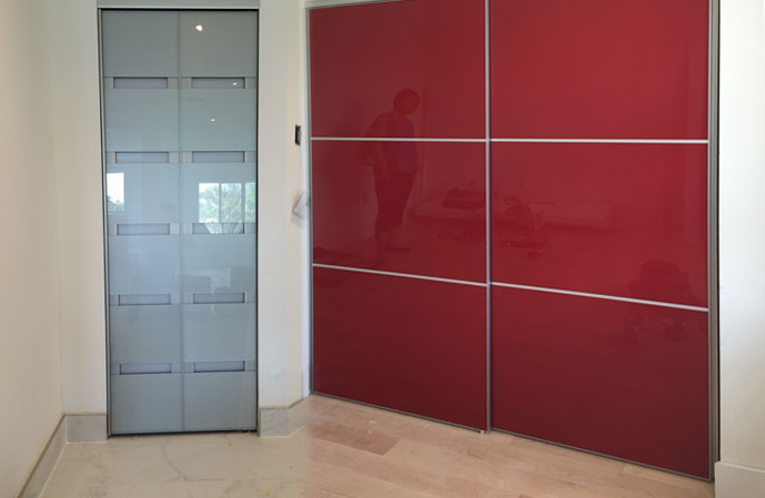 Custom made glass closet doors