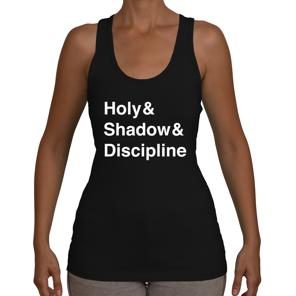 Priest Women's Racerback Tank (White Text)