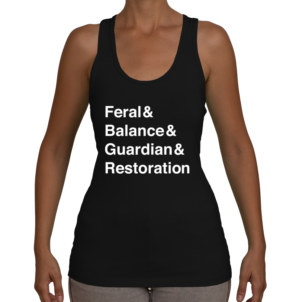 Druid Legion Women's Racerback Tank Top (White Text)