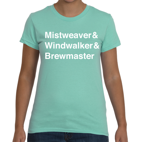 Monk Women's T-Shirt in Mint (White Text)