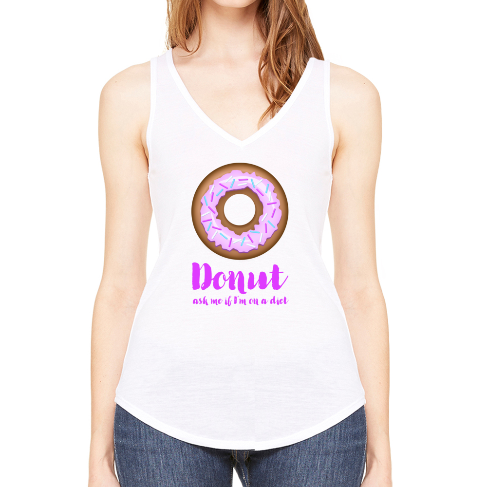 Donut Ask Me V-Neck Tank