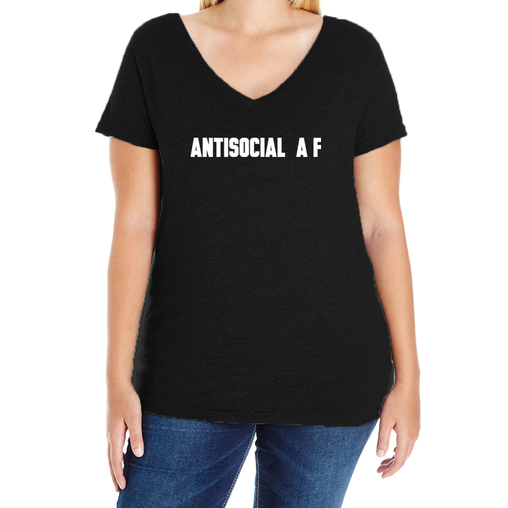 Antisocial A F Womens Plus V-Neck Tee