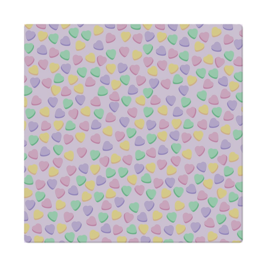Candy Heart Lilac Square Cloth Napkin
