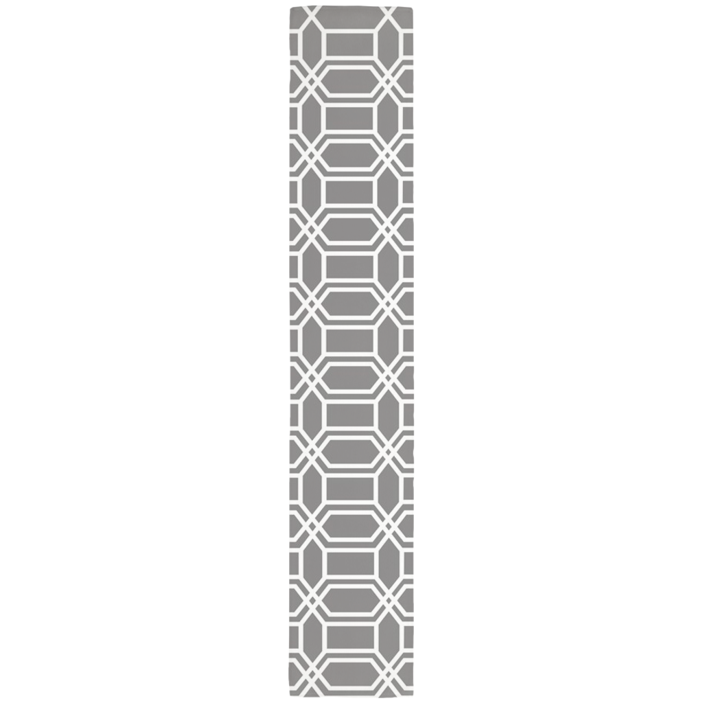 Gray table runner with white hexagon line pattern