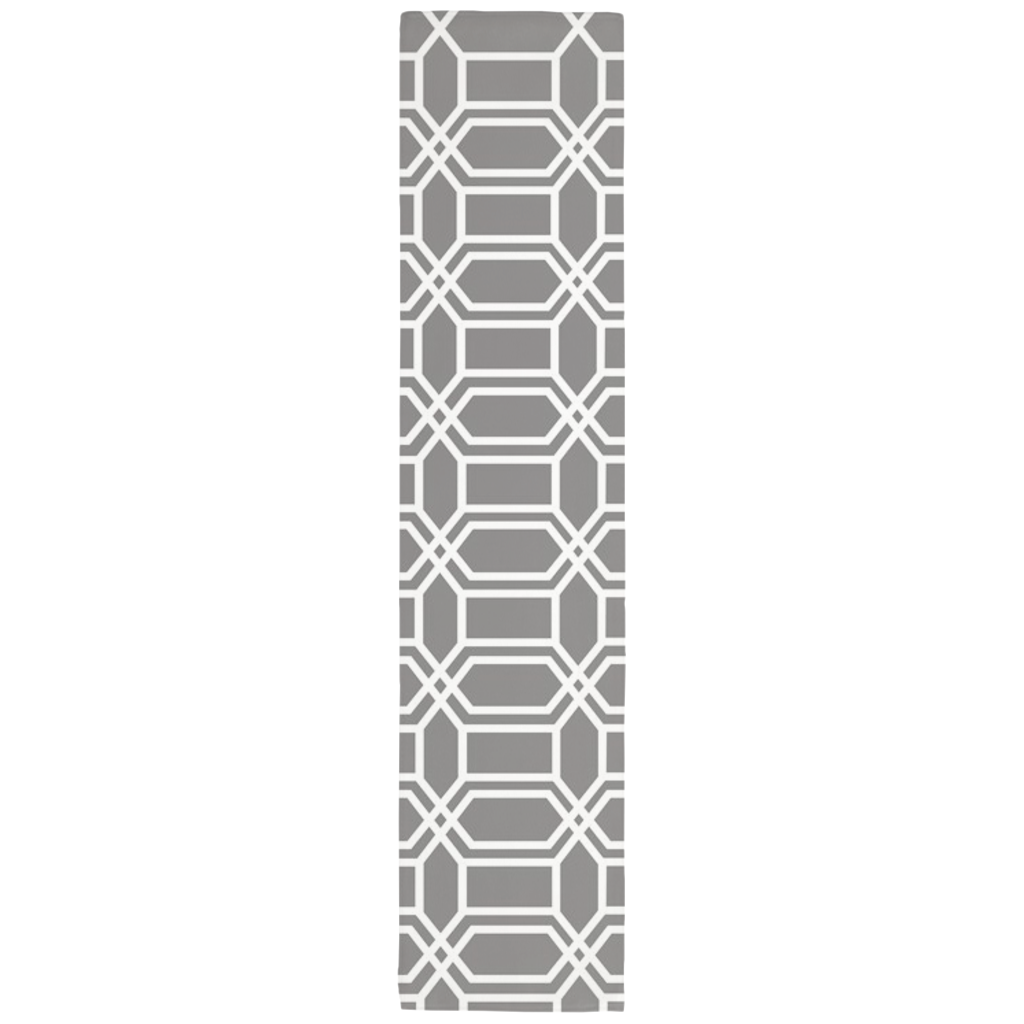Gray table runner with white hexagon line pattern. Shorter version of the runner for small tables.