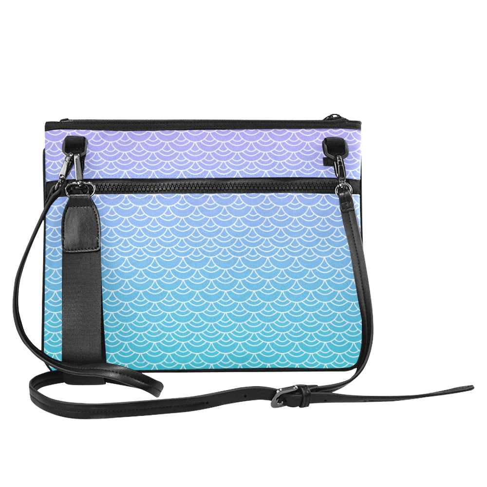 Mermaid Scale Pattern Crossbody Bag in Lavender, blue and aqua.