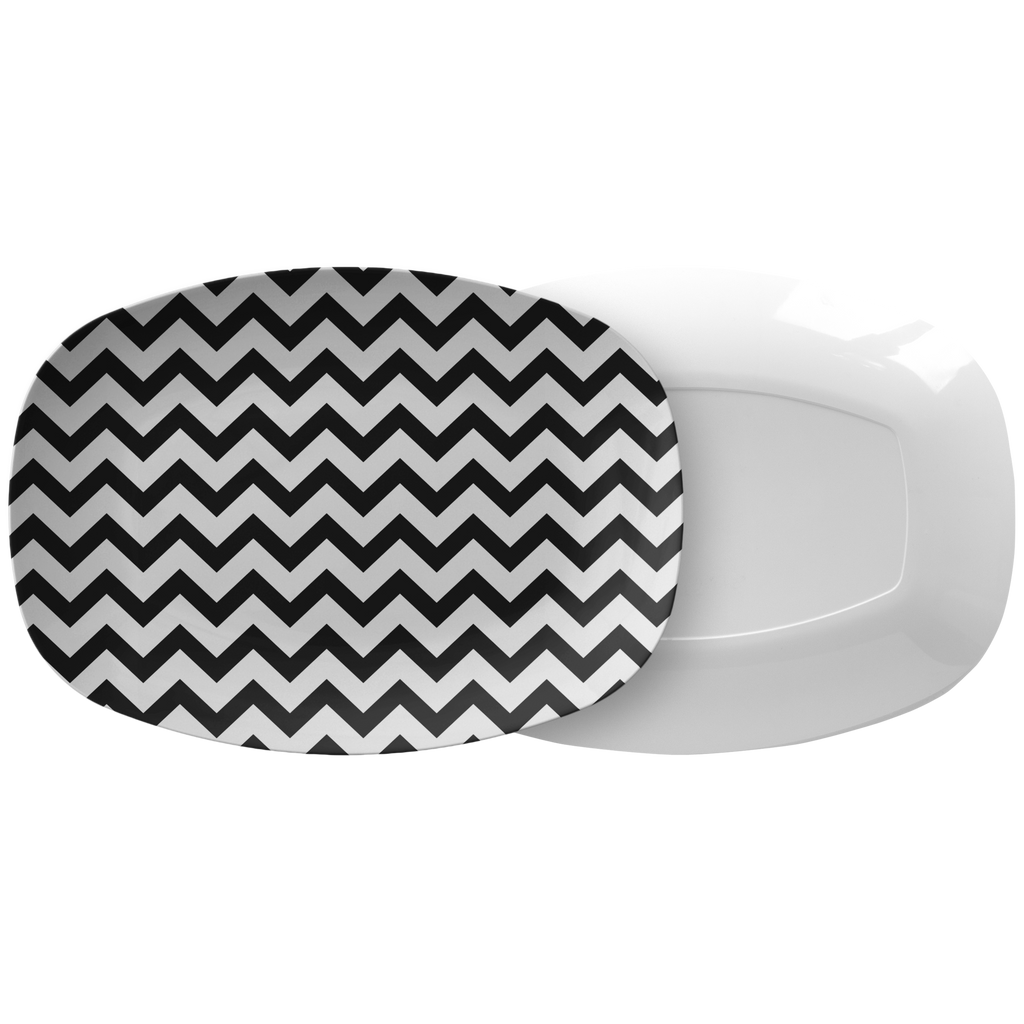 Black and White Chevron Serving Platter