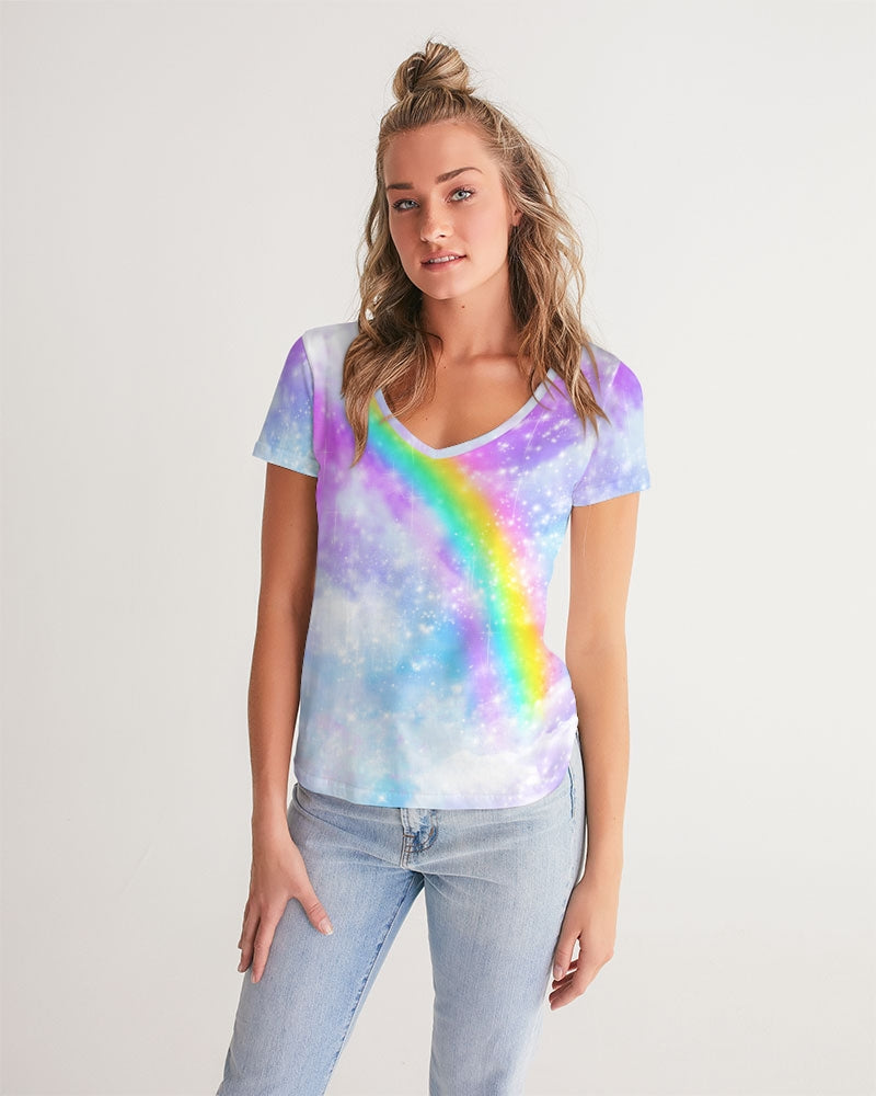 Pastel Galaxy with Rainbow Sublimation Women's V-Neck Tee