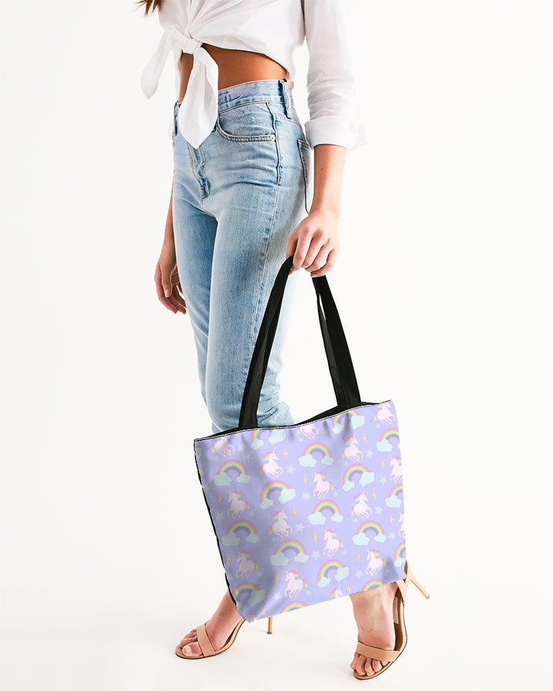 Unicorns & Rainbows Canvas Zip Tote