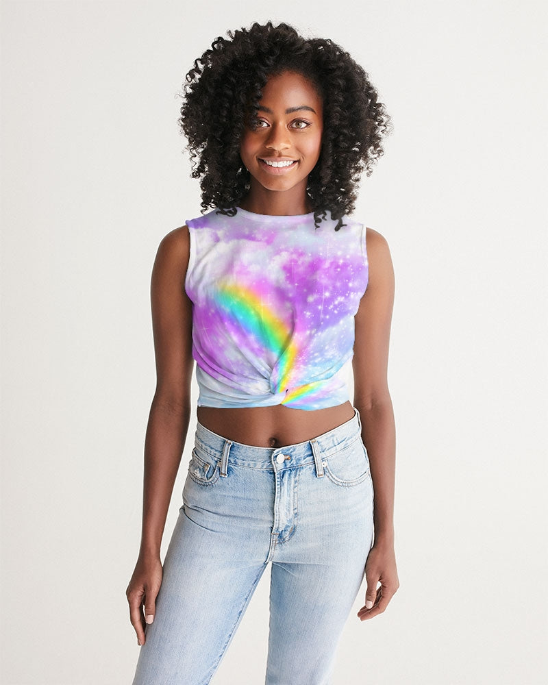 Pastel Galaxy with Rainbow Sublimation Women's Cropped Twist-Front Tank