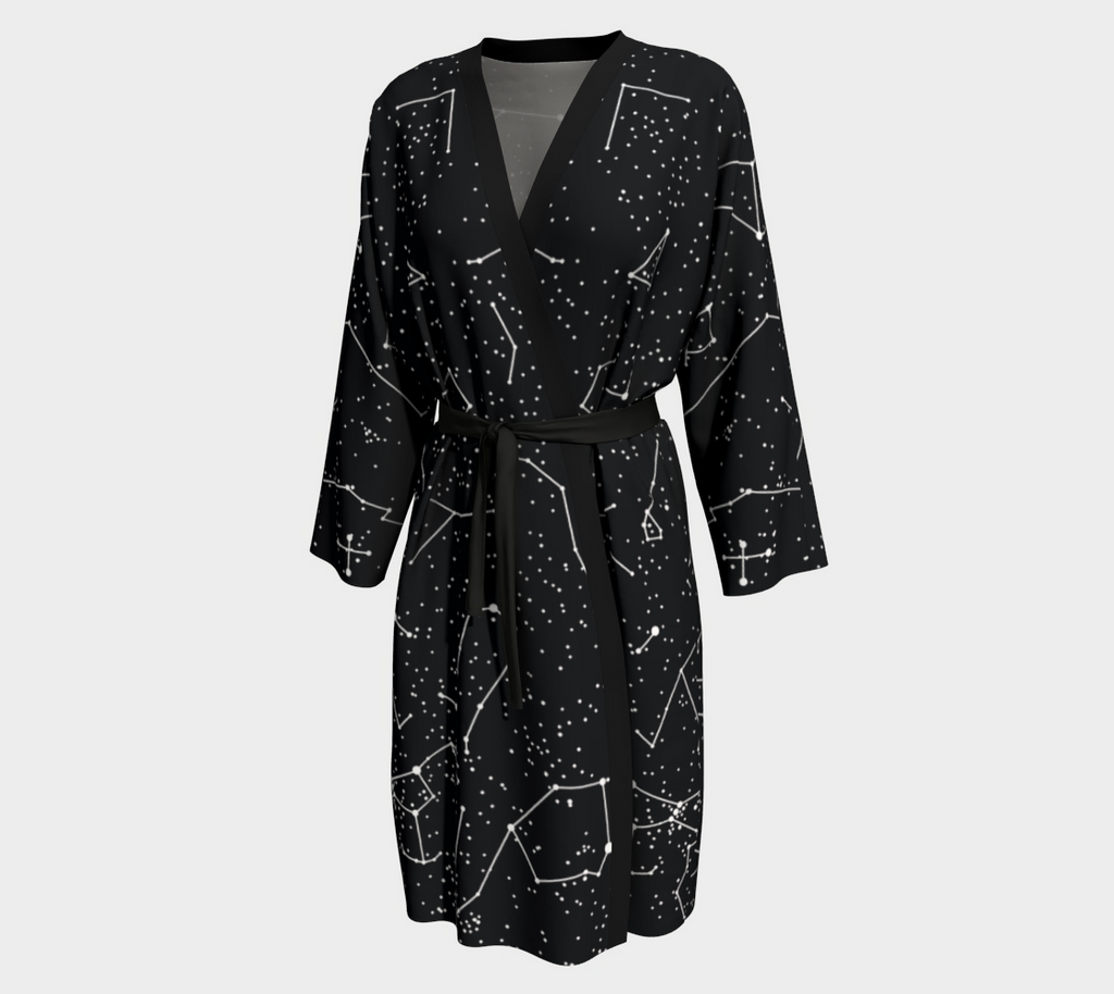 Black Sky Constellation Robe