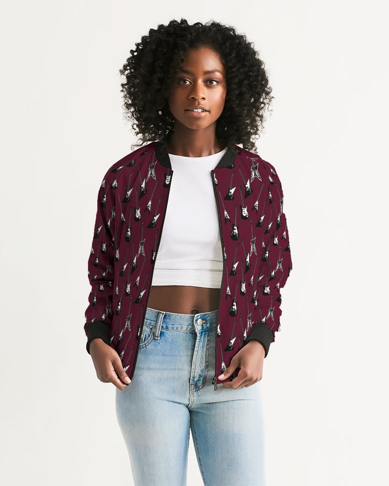 Electric guitar patterned oxblood bomber jacket