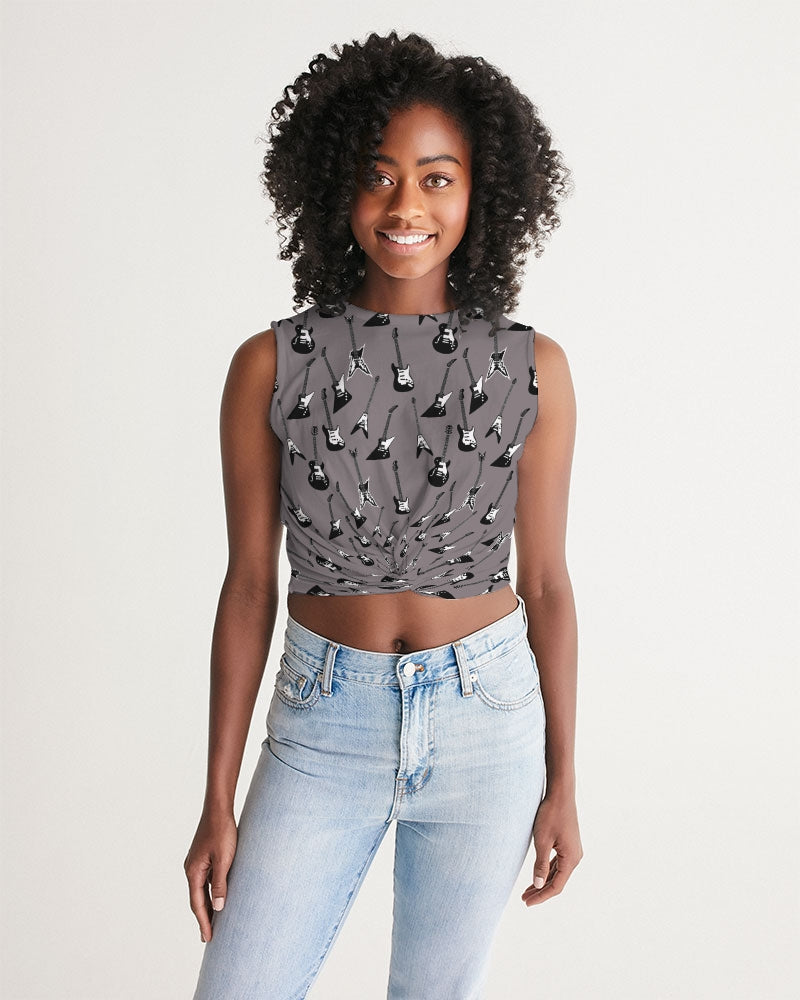 Electric Guitar patterned gray twist-front cropped tank top