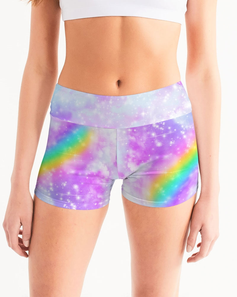 Pastel Galaxy Women's Mid-Rise Yoga Shorts