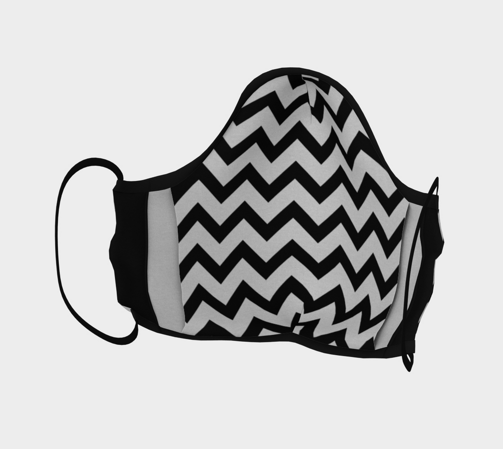 Black and White Chevron Face Mask