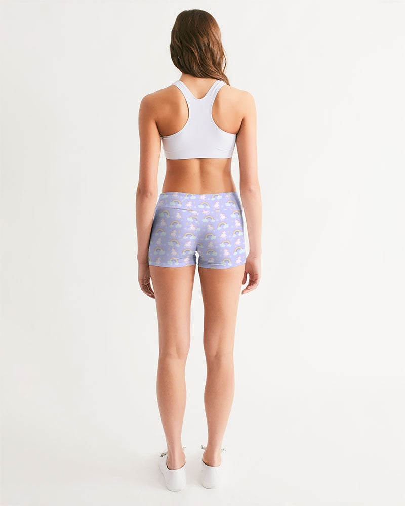Unicorns & Rainbows (Lavender) Women's Mid-Rise Yoga Shorts