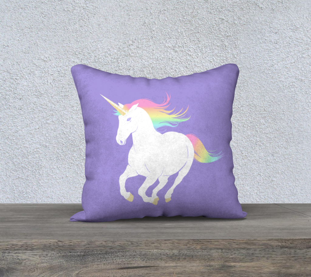 "Legendary Unicorn Pillow Case, 18"" x 18"""
