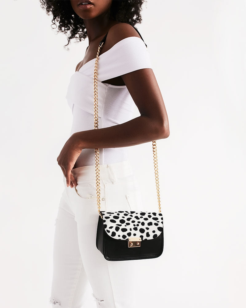Black and White Dalmatian Spot Patterned Purse with gold hardware