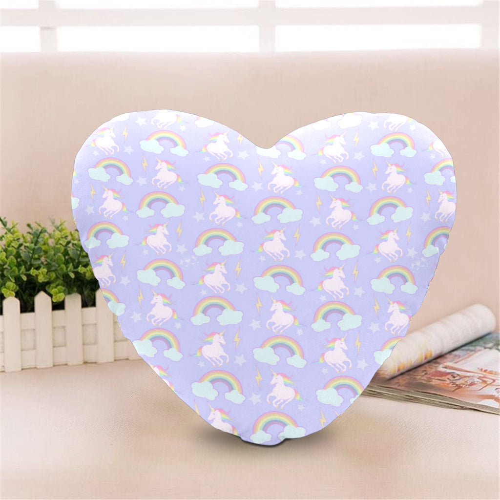 Unicorns & Rainbows Heart Shaped Pillow