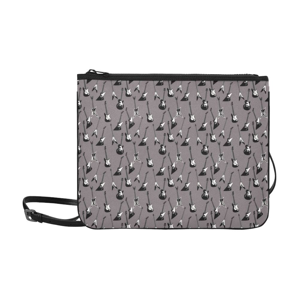 Electric guitar printed crossbody bag in gray