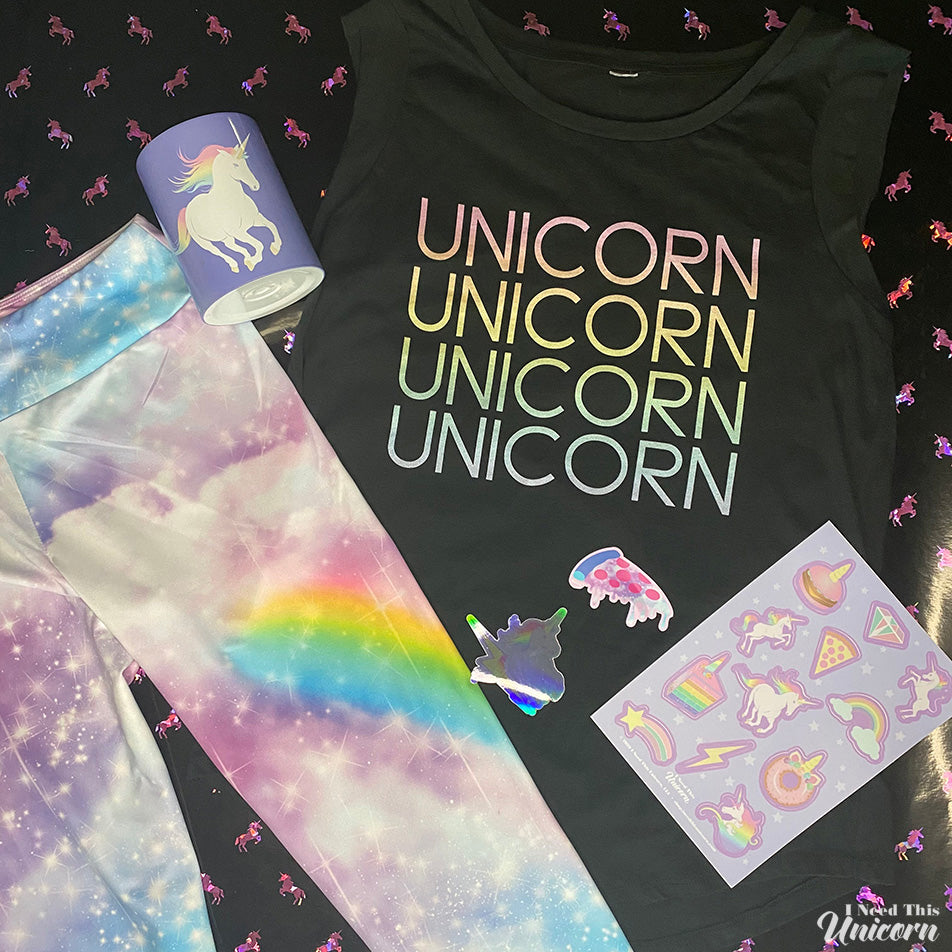 Rainbow unicorn themed apparel, stickers and gifts