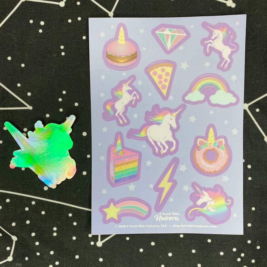 Unicorn Party Sticker Sheet and Die Cut Holographic Sticker Bundle