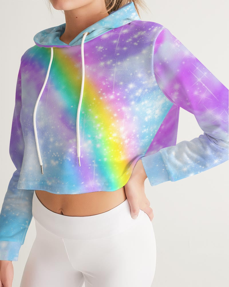 Pastel Galaxy with Rainbow Sublimation Women's Cropped Hoodie