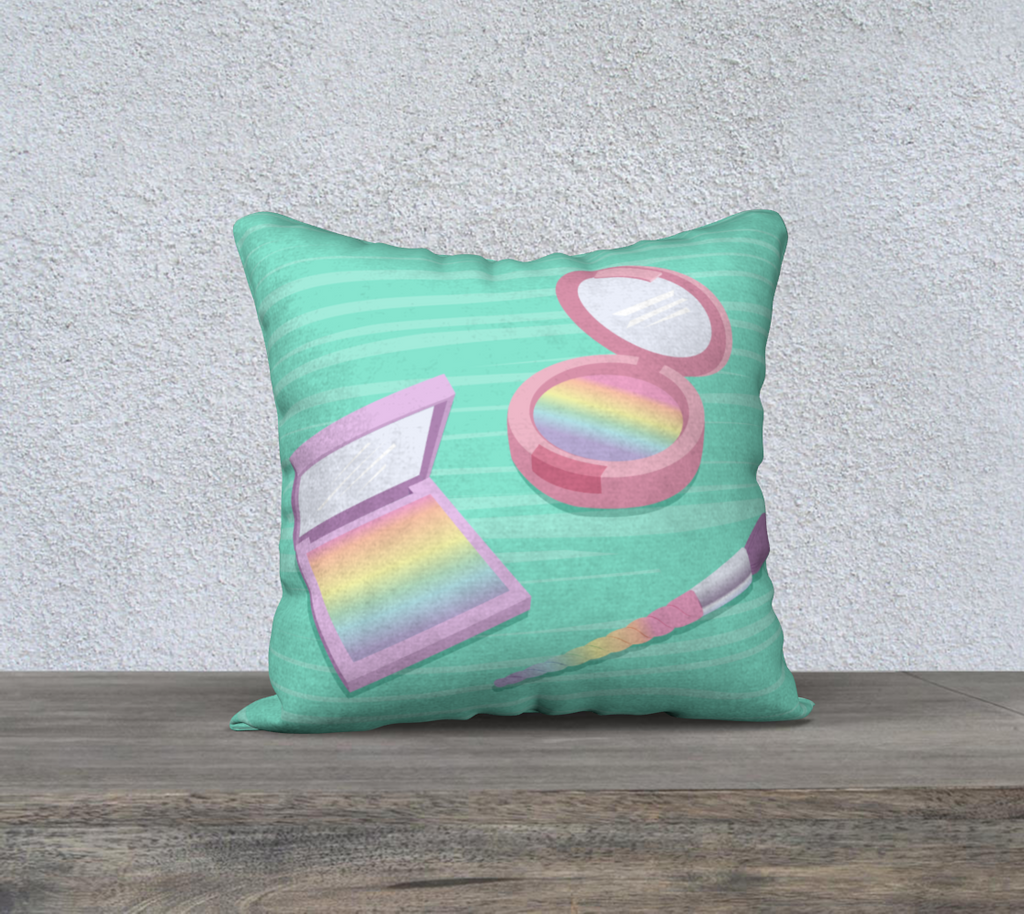 "Rainbow Makeup Pillowcase, 18"" x 18"""