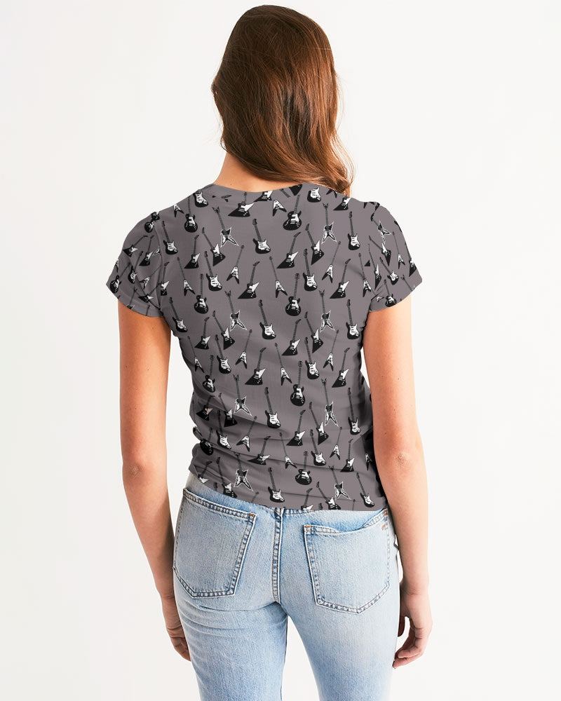 Electric Guitar patterned women's tee in gray