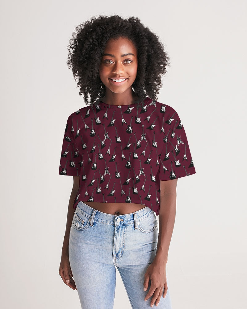 Guitar-a-palooza Oxblood Women's Lounge Cropped Tee
