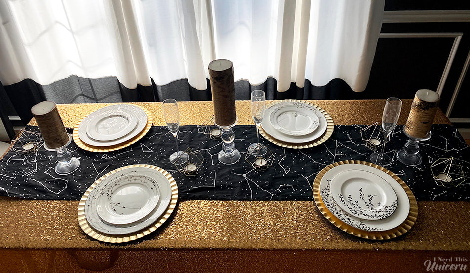 Black Sky Constellation Table Runner
