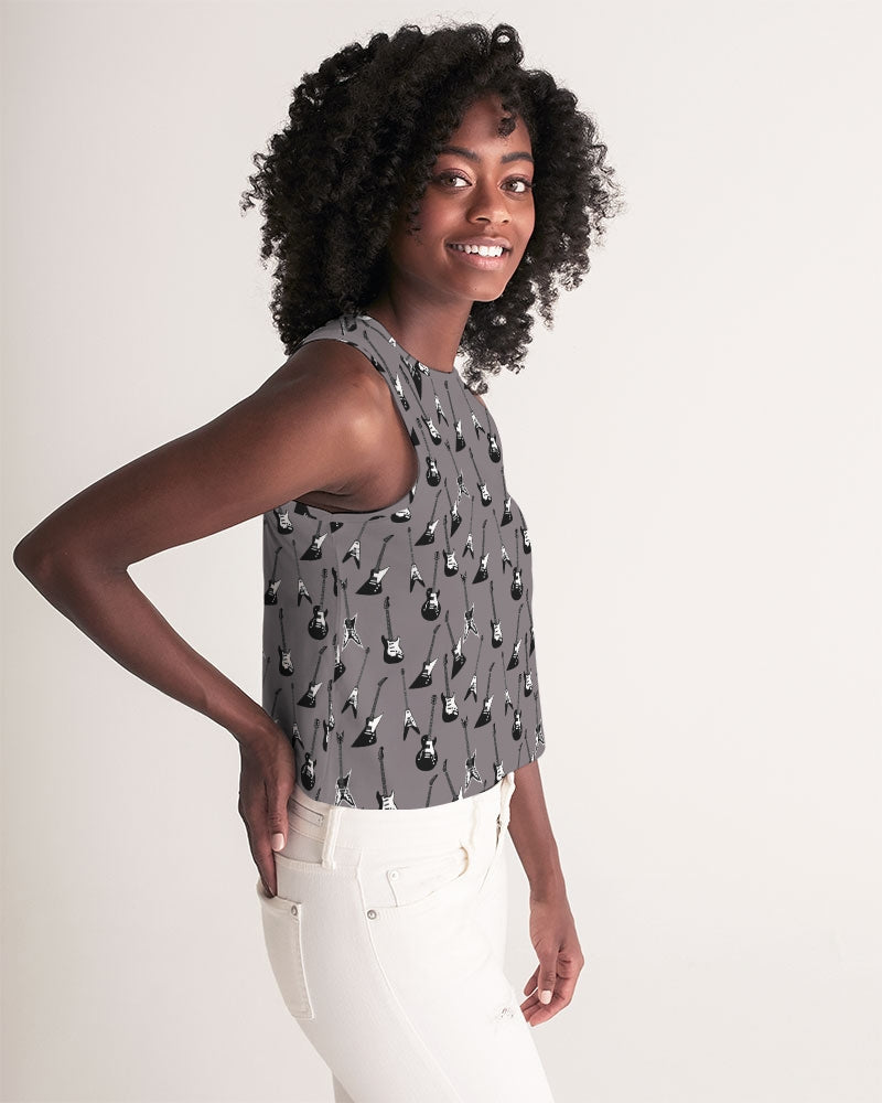Cropped electric guitar patterned gray tank top