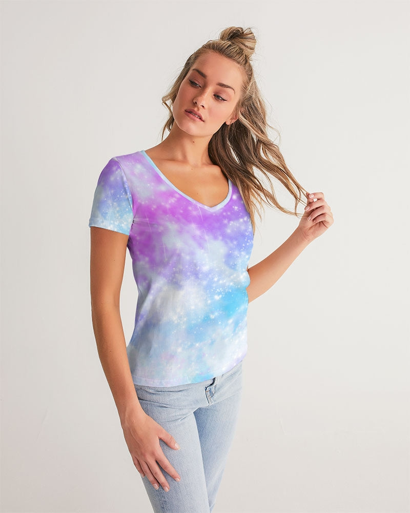 Pastel Galaxy Sublimation Women's V-Neck Tee