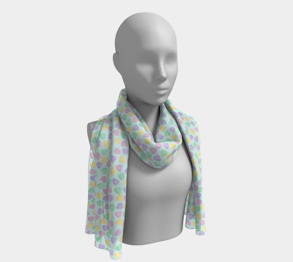 Candy Hearts Sky Blue Long Scarf
