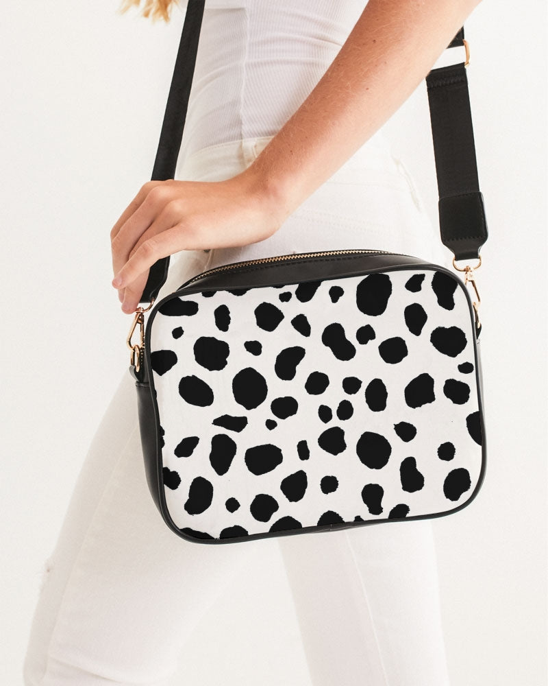 Dalmatian print black and white crossbody bag