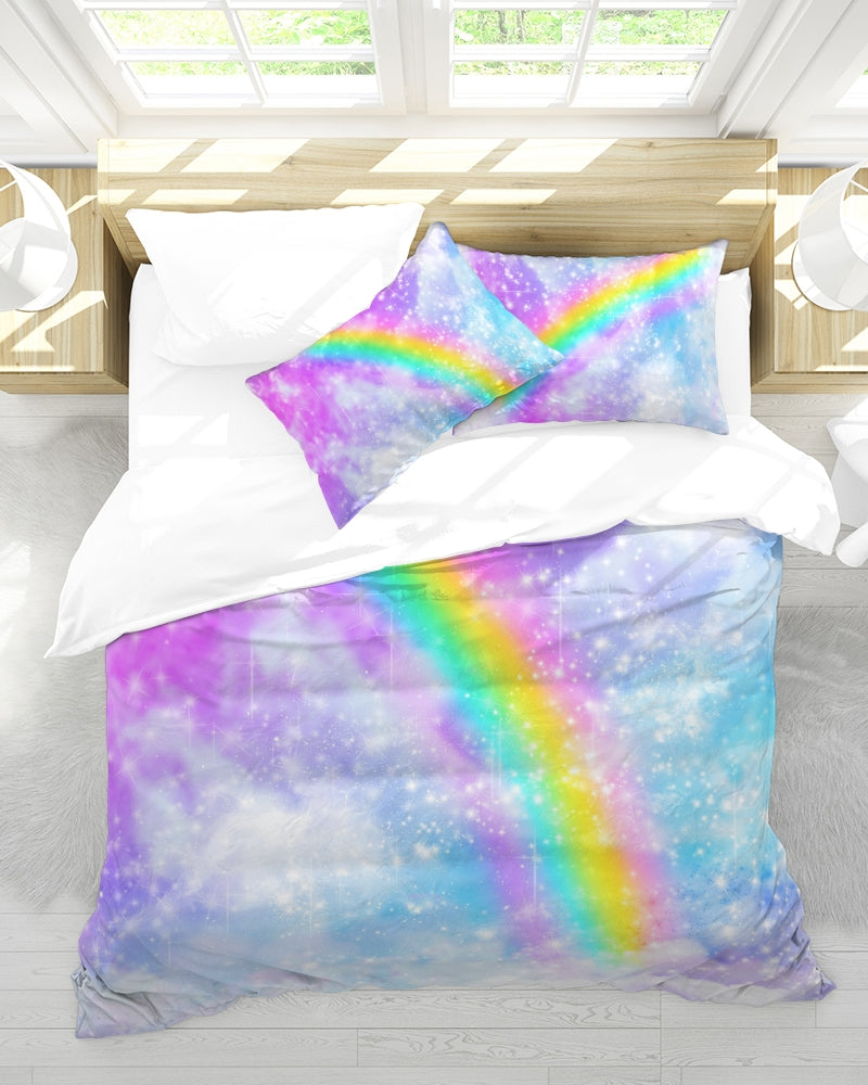 Pastel Galaxy with Rainbow Bedding- Queen Size