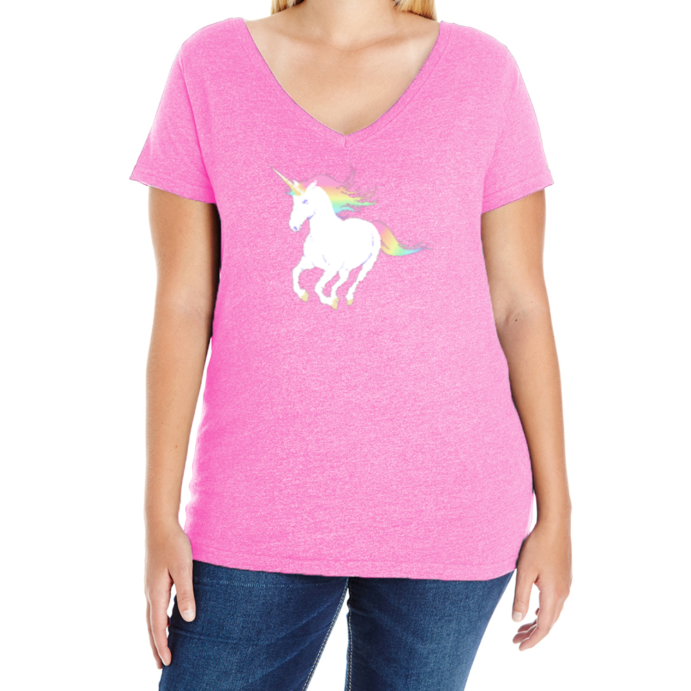 Legendary Unicorn Women's Plus V-Neck tee