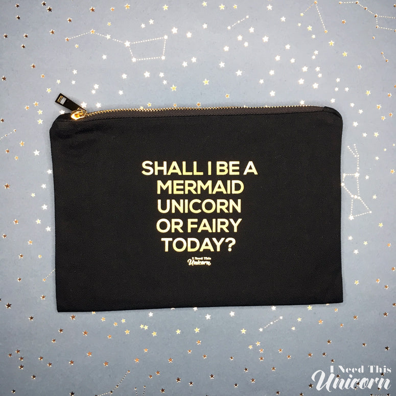 Mythical Creatures Large Makeup Bag - Black & Gold