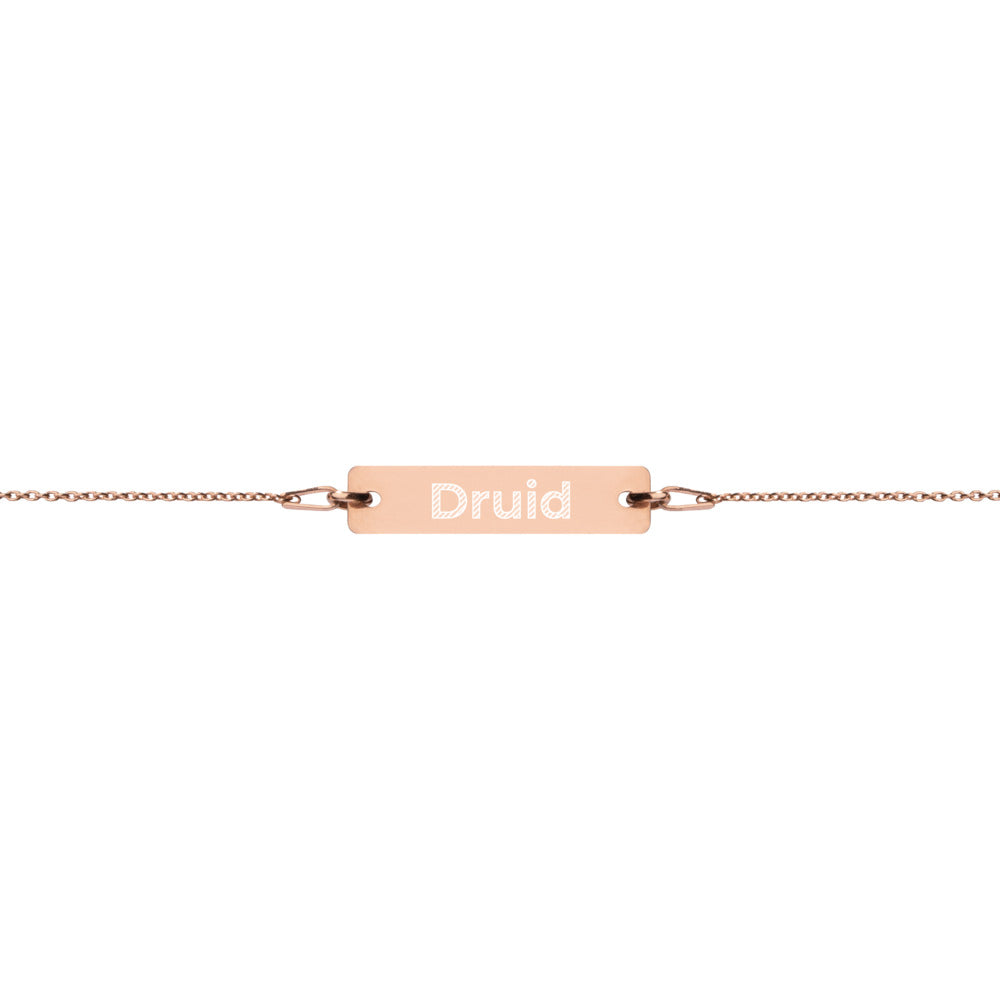 Druid Engraved Silver Bar Chain Bracelet