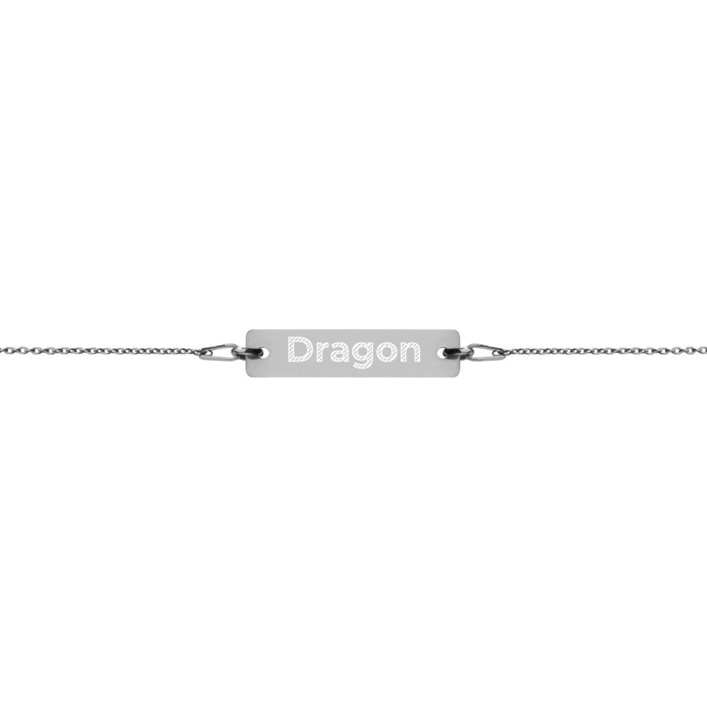 Dragon Engraved Silver Bar Chain Bracelet