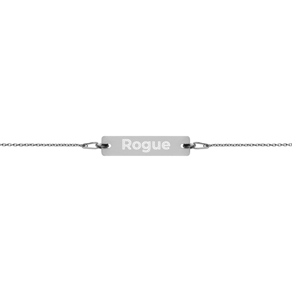 Rogue Engraved Silver Bar Chain Bracelet