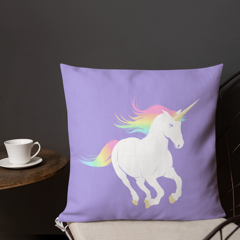 "Rainbow Unicorn Pillow, 18"" x 18"""