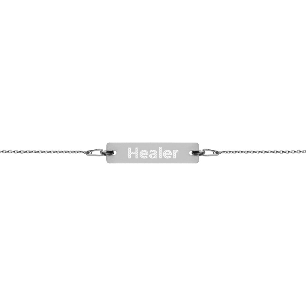 Healer Engraved Silver Bar Chain Bracelet