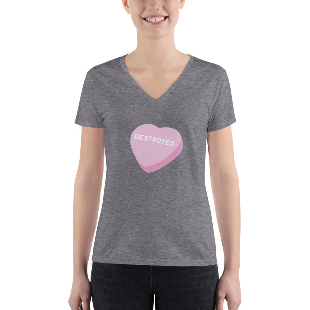 Destroyed Candy Heart Women's V-Neck T-Shirt